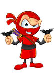 Sneaky Red Ninja Character Stock Photography
