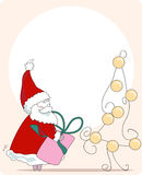 Sneaky santa. greeting card. Vector illustration of sneaky santa with gift and christmas tree Stock Photos