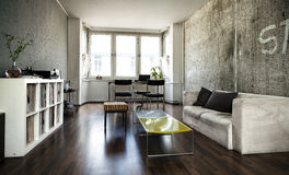 Lägenhetvardagsrum Royaltyfria Bilder