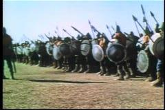 Sned boll sköt medeltida soldater på attacken lager videofilmer