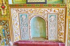 Sned dekorer i det Qavam huset, Shiraz, Iran Arkivbilder