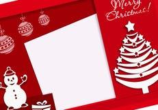 Sneed banner Vrolijke Kerstmis met sneeuwman en nieuwe jaarboom, document stijl, rood, kleurrijke banner, rood, vector illustratie