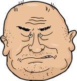 Sneering Man. Sneering balding senior man cartoon over white Royalty Free Stock Photography