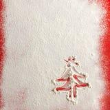 Sneeuw achtergrondtextuur Kerstman Klaus, hemel, vorst, zak royalty-vrije stock foto