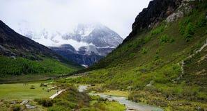 Sneeuw afgedekte bergen, valleien en stromen Stock Afbeelding