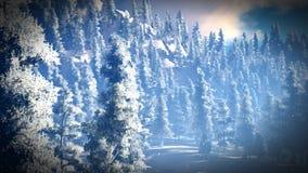 Sneeuw behandeld Christmac-bos in bergen het 3d teruggeven Royalty-vrije Stock Afbeeldingen