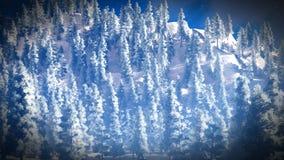Sneeuw behandeld Christmac-bos in bergen het 3d teruggeven Stock Afbeeldingen