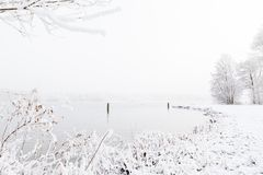 Sneeuw behandeld de winterlandschap met exemplaarruimte Stock Fotografie