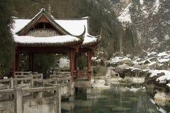 Sneeuw behandeld paviljoen Royalty-vrije Stock Fotografie