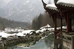 Sneeuw behandeld paviljoen Royalty-vrije Stock Foto's