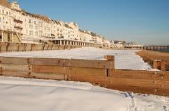 Sneeuw behandeld strand, st.Leonards-op-Overzees Royalty-vrije Stock Afbeeldingen
