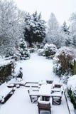 Sneeuw behandeld tuin en terras stock foto
