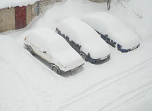 Sneeuw behandelde auto's Stock Foto's