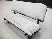 Sneeuw behandelde bank Royalty-vrije Stock Foto's