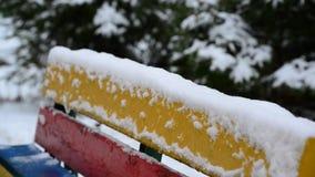 Sneeuw behandelde bank in het park stock video