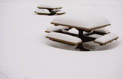 Sneeuw behandelde banken in een park stock fotografie