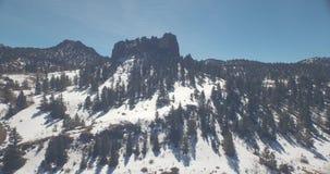Sneeuw behandelde berg vlieg-binnen stock video
