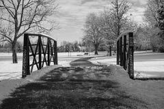 Sneeuw behandelde brug Royalty-vrije Stock Foto