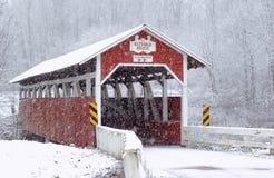 Sneeuw Behandelde Brug stock fotografie