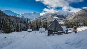 Sneeuw behandelde chocholowskavallei bij zonsondergang, Tatra-Bergen Stock Fotografie