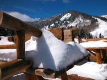 Sneeuw Behandelde Lijst Royalty-vrije Stock Afbeeldingen