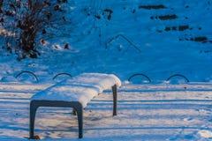 Sneeuw behandelde parkbank in een openbaar park Stock Fotografie
