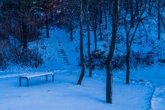 Sneeuw behandelde parkbank in een openbaar park Stock Foto