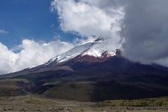 Sneeuw behandelde piek van Cotopaxi-Vulkaan stock foto's