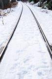 Sneeuw behandelde spoorwegsporen royalty-vrije stock afbeeldingen
