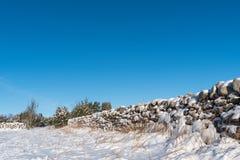 Sneeuw behandelde steenmuur vanuit een laag perspectief Stock Foto's