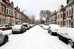 Sneeuw Behandelde Straat Stock Foto