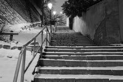 Sneeuw behandelde treden in oude stad van Praag, Tsjechische Republiek stair stock foto's