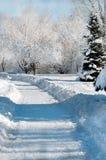 Sneeuw behandelde weg Royalty-vrije Stock Afbeeldingen