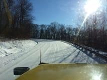 Sneeuw behandelde wegen Stock Afbeelding