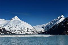 Sneeuw bergen en oceaan stock fotografie