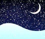 Sneeuw bij nachthalve maan Stock Afbeeldingen