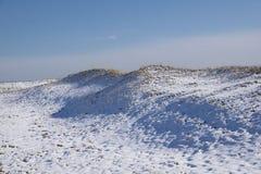 Sneeuw coverede duinen van pruimeiland Stock Foto