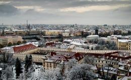 Sneeuw daken van Praag. Royalty-vrije Stock Foto