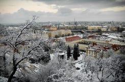 Sneeuw daken van Praag. Stock Fotografie