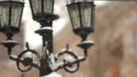 Sneeuw in de stad Stock Foto's