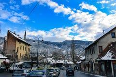 Sneeuw in de stad van Sarajevo royalty-vrije stock foto's