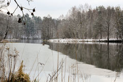 Sneeuw de Winterlandschap - bevroren rivier Polen Royalty-vrije Stock Afbeeldingen