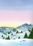 Sneeuw de winterlandschap met bergen en huizen Stock Foto's