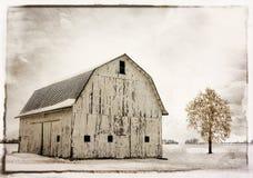 Sneeuw de Winterschuur royalty-vrije stock foto's