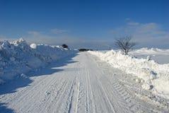 Sneeuw de winterweg Royalty-vrije Stock Foto