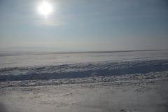 Sneeuw in de zon stock fotografie