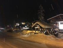 Sneeuw die in Kleinarl, Oostenrijk vallen Stock Foto