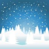 Sneeuw die op de bomen vallen Royalty-vrije Stock Afbeeldingen