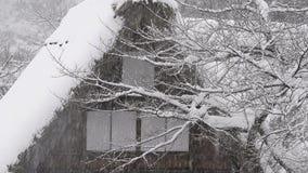 Sneeuw die op het huis, in Toyama, Japan vallen stock video