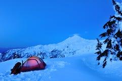 Sneeuw die op Punt Huntoon kampeert Stock Foto's